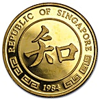 Singapore Mint Singold Lunar Series 1984 - Year of the Rat - 1/10 oz  thumbnail