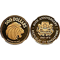 Singapore Mint 10th Anniversary of the Republic of Singapore 1965-1975 - 1 oz gold