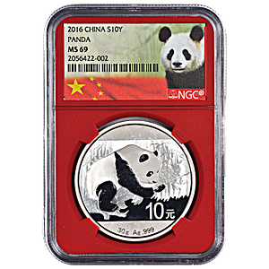Chinese Silver Panda 2016 - Graded MS 69 by NGC - 30 g