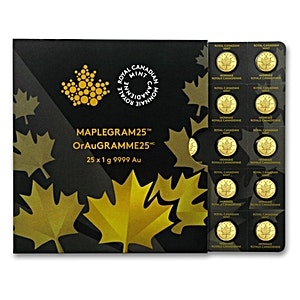 Canadian Gold Maplegram25 2016 - 25 x 1 g