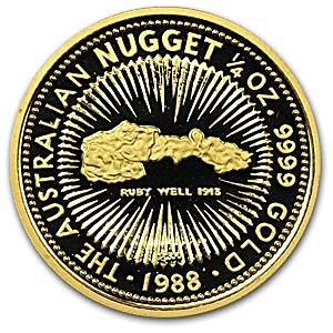 Australian Gold Kangaroo Nugget 1988 - Circulated in good condition - 1/4 oz