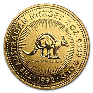 Australian Gold Kangaroo Nugget 1992 - 1/2 oz