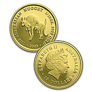 Australian Gold Kangaroo Nugget 2003 - Proof - 1/10 oz