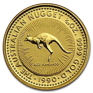 Australian Gold Kangaroo Nugget 1990 - 1/20 oz
