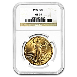 US $20 St. Gaudens Double Eagle 1927 - Graded MS 62 by NGC - 30.09 g