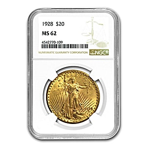 US $20 St. Gaudens Double Eagle 1926 - Graded MS 62 by NGC - 30.09 g