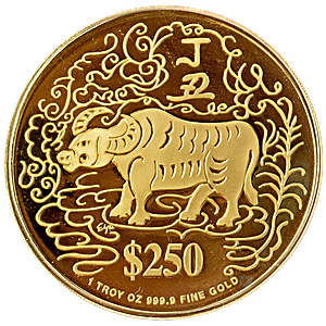 Singapore Mint Gold Ox 1997 - With Box and COA - 1 oz