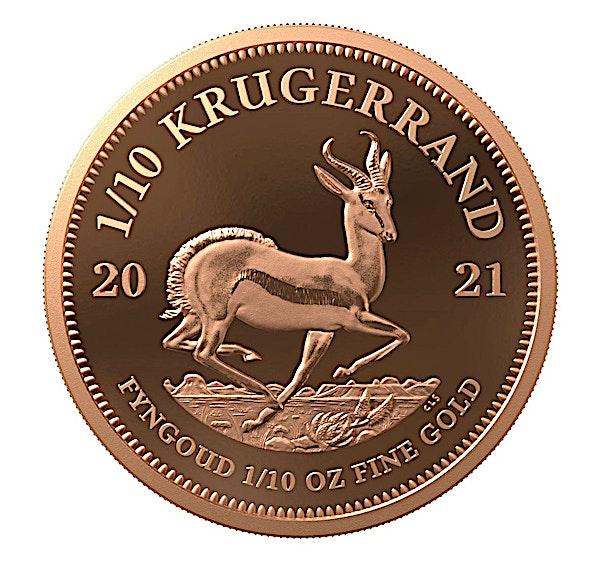 South African Gold Krugerrand 2021 - Proof - 1/10 oz