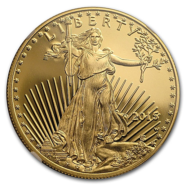 American Gold Eagle 2015 - Graded PF 69 by NGC - First Day of Issue - Proof - 1 oz