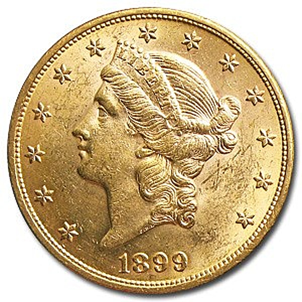 1899 $20 St. Gaudens Gold Double Eagle