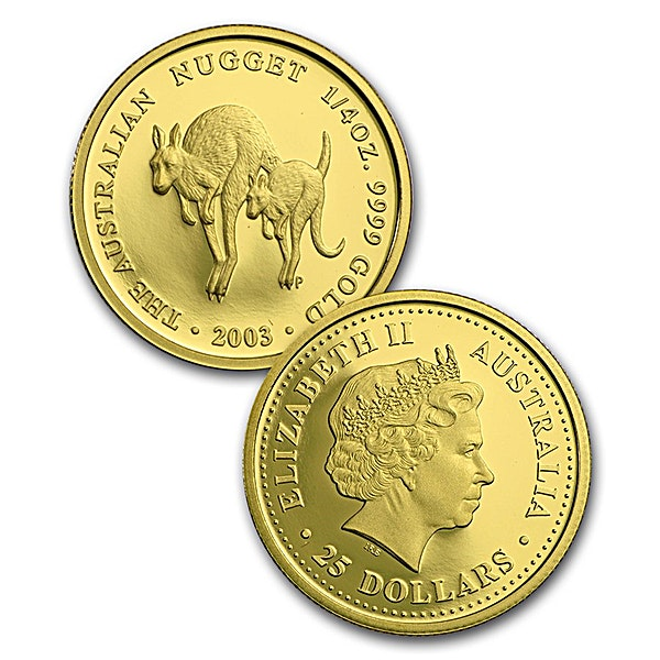 Australian Gold Kangaroo Nugget 2003 - Proof - 1/4 oz