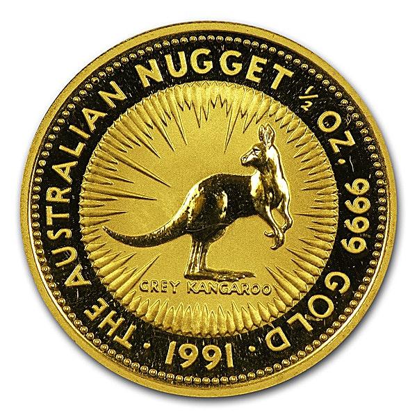 Australian Gold Kangaroo Nugget 1991 - 1/2 oz