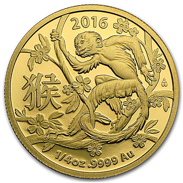 Australian Gold Lunar Series 2016 - Year of the Monkey - Circulated in good condition - Minted by RAM - 1/4 oz