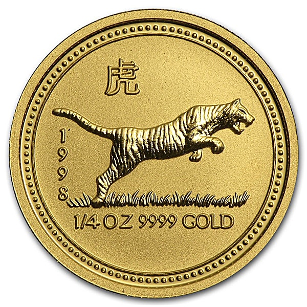 Australian Gold Lunar Series 1998 - Year of the Tiger - 1/4 oz