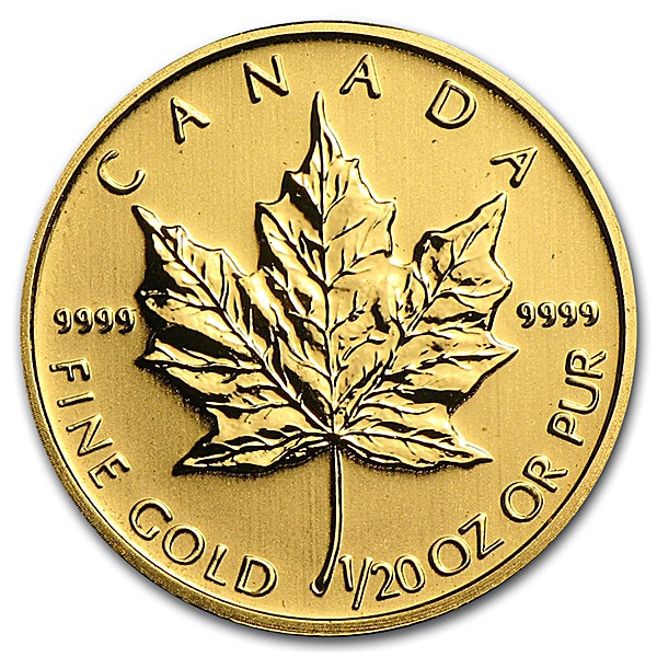 Canadian Gold Maple Various Years - 1/20 oz