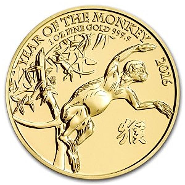 United Kingdom Gold Lunar Monkey 2016 - 1 oz