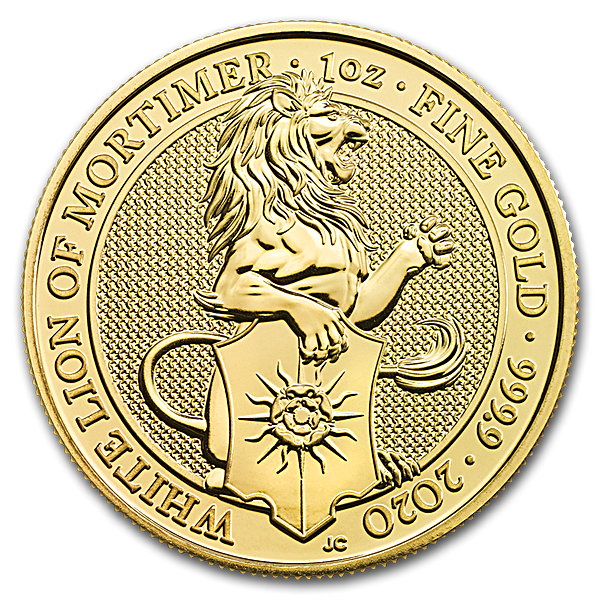 United Kingdom Gold Queen's Beast 2020 - The White Lion - 1 oz
