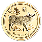 Australian Gold Lunar Series 2019 - Year of the Pig - 2 oz thumbnail
