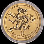 Australian Gold Lunar Series 2012 - Year of the Dragon - 2 oz thumbnail