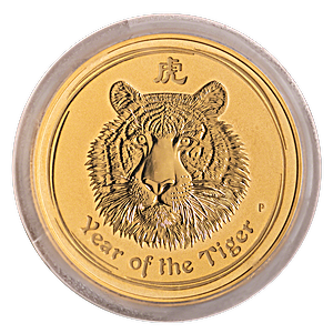 Australian Gold Lunar Series 2010 - Year of the Tiger - Circulated in good condition - 2 oz