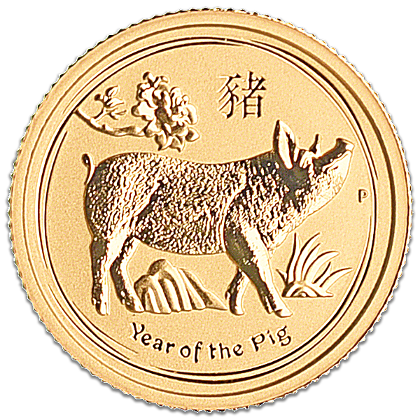 Australian Gold Lunar Series 2019 - Year of the Pig - 1/10 oz