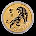 Australian Gold Lunar Series 2022 - Year of the Tiger - 1/10 oz thumbnail