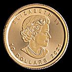 Canadian Gold Maple 2021 - 1/4 oz thumbnail