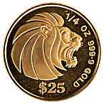 Singapore Gold Lion 1990 - 1/4 oz  thumbnail