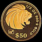 Singapore Gold Lion 1991 - 1/2 oz thumbnail