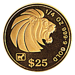Singapore Gold Lion 1991 - 1/4 oz  thumbnail