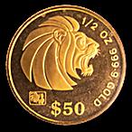 Singapore Gold Lion 1993 - 1/2 oz thumbnail