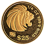 Singapore Gold Lion 1993 - Circulated in good condition - 1/4 oz  thumbnail