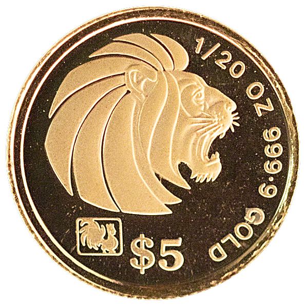 Singapore Gold Lion 1993 - 1/20 oz