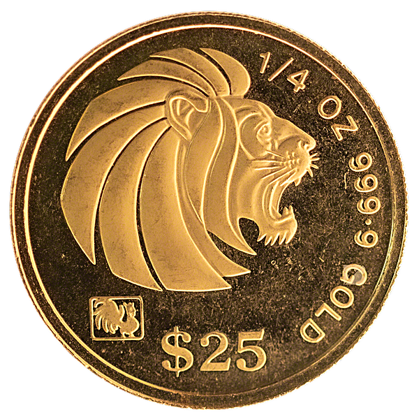 Singapore Gold Lion 1993 - Circulated in good condition - 1/4 oz