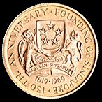 Singapore 150th anniversary commemorative coin 1969 - 150 dollars - 22.79 g gold thumbnail