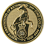 United Kingdom Gold Queen's Beast 2021 - The Greyhound of Richmond - 1 oz thumbnail