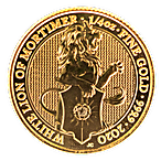 United Kingdom Gold Queen's Beast 2020 - The White Lion - 1/4 oz thumbnail