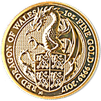 United Kingdom Gold Queen's Beast 2017 - Dragon - 1 oz thumbnail