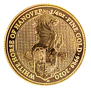United Kingdom Gold Queen's Beast 2020 - The White Horse of Hanover - 1/4 oz