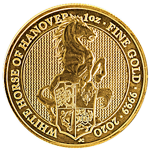United Kingdom Gold Queen's Beast 2020 - The White Horse of Hanover - 1 oz