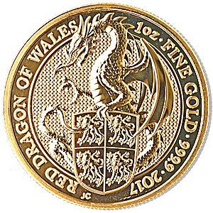 United Kingdom Gold Queen's Beast 2017 - Dragon - 1 oz