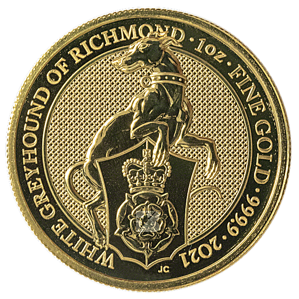 United Kingdom Gold Queen's Beast 2021 - The Greyhound of Richmond - 1 oz