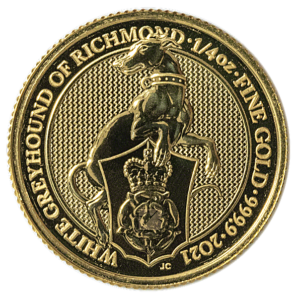 United Kingdom Gold Queen's Beast 2021 - The Greyhound of Richmond - 1/4 oz