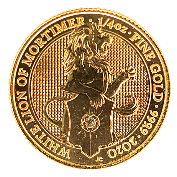 United Kingdom Gold Queen's Beast 2020 - The White Lion - 1/4 oz