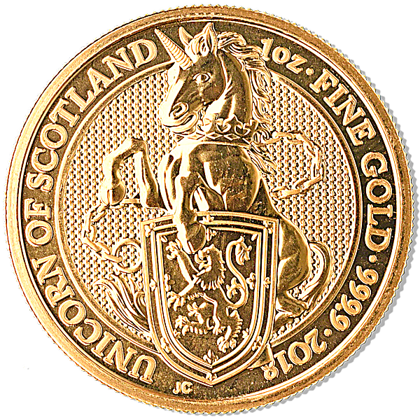 United Kingdom Gold Queen's Beast 2018 - Unicorn - 1 oz