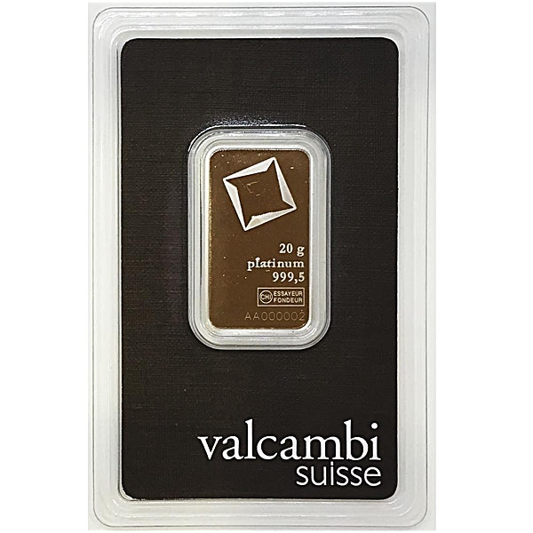 Valcambi Platinum Bar  - 20 g