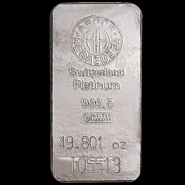 Argor-Heraeus Platinum Bar - 49.801 oz
