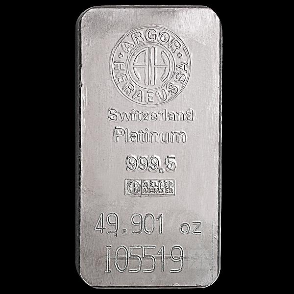 Argor-Heraeus Platinum Bar - 49.901 oz