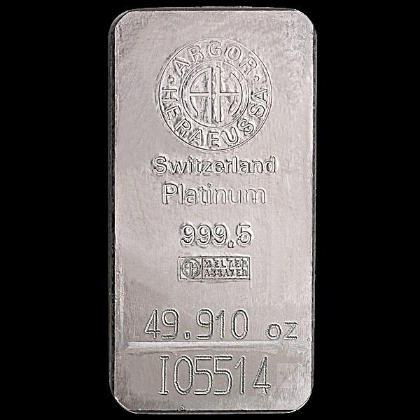 Argor-Heraeus Platinum Bar - 49.91 oz