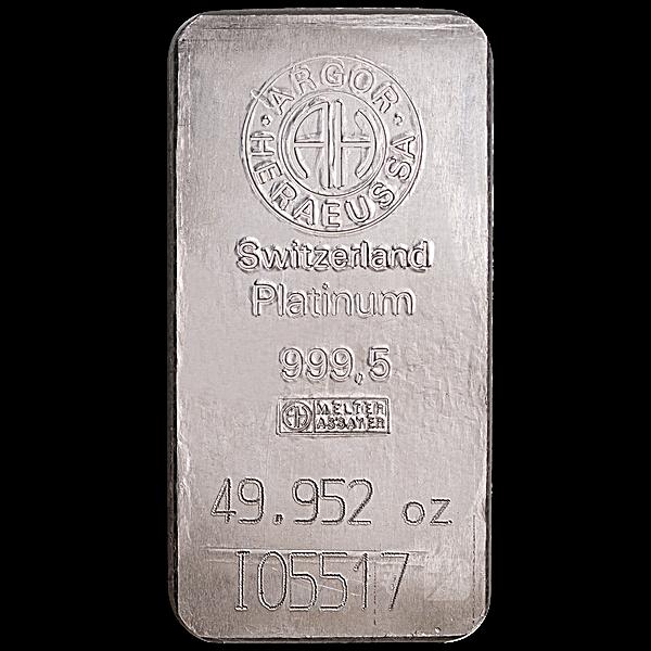 Argor-Heraeus Platinum Bar - 49.952 oz